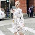 2017 Новое Прибытие Мода Женщины Dress Печатных Vintage Summer Dress Гольфы Vestidos Office Dress A-Line Чешские Shirt Dress