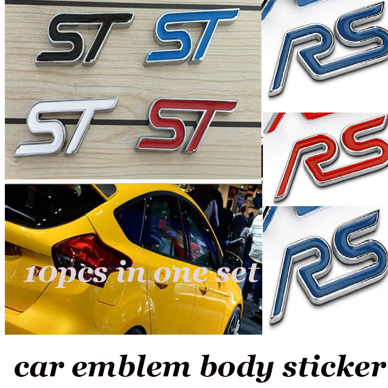 10pcs Auto Emblem Sticker Decoration 3D Metal label For ST RS logo badge decal For Audi Ford Bmw Benz Mazda Honda and so on