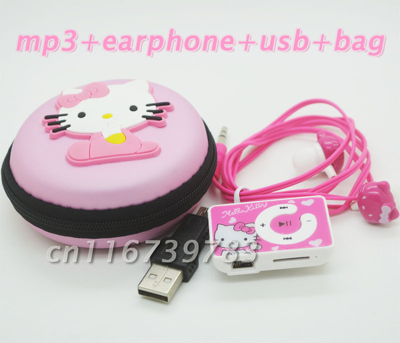 fashion Mini Hello Kitty MP3 Music Player Clip Players Support TF Card Earphone&Mini USB&hello kitty bag - easybuydigital store