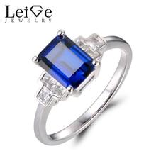 Leige Jewelry Engagement Rings Sapphire Rings Emerald Cut Rings September Birthstone 925 Sterling Silver Elegant Rings for Women