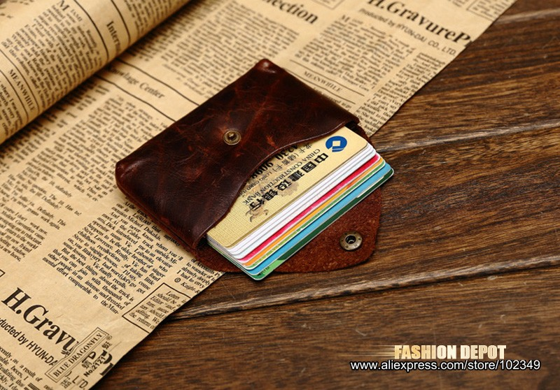 Oil Waxed Dark Brown Credit Card Wallet Card Bag Coin Wallet man and women (8)