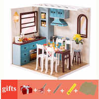 mini doll house kitchen model kit accessories toys wooden dollhouse diy miniatures for children poppenhuis keuken dinette enfan