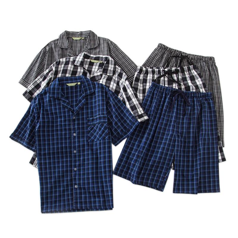Fashion Plaid Male Shorts Sleepwear Men 100% Cotton Short Pajamas Sets Men Summer Casual Japanese Short-sleeve Button Sleepwear