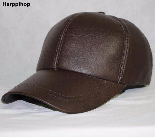 56967480e1e04f Harppihop High Quality Sheepskin Hat Genuine Winter Leather Hats Baseball  Cap Adjustable for Men Black Caps Free Shipping