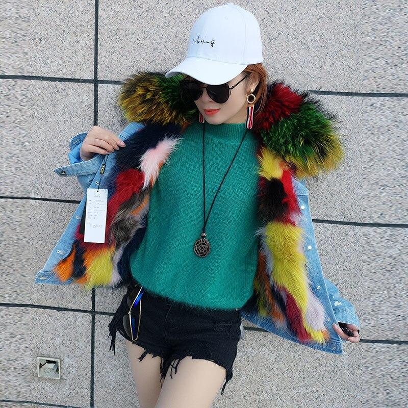 Bleu pu Parkas Hot Réel Ciel Manteaux Courts Épais Grand Laveur Raton Fourrure Jeans De Denim Vestes Vintage Mode Femmes Doublure Fille Chaud Col RwH1Rq