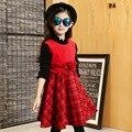 Девушки зима черный плед шерстяное платье цветочные школа девушка рукавов жилет платья малыш красный принцесса день рождения Рождественские одежда