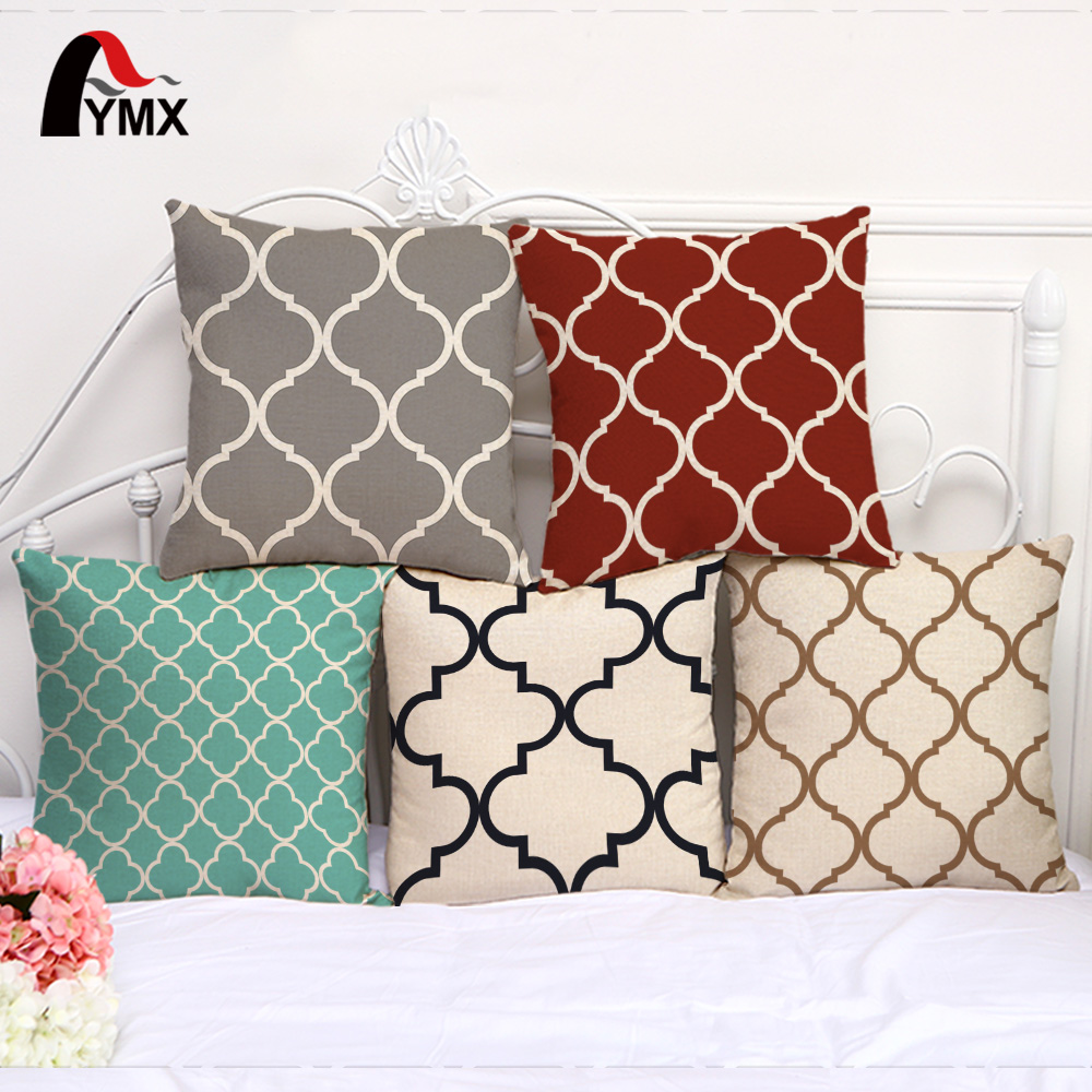 Simple Geometric Printed Cushion Cover Cotton and Linen Car Sofa Pillow Case Sets of Floating Window Decoration Pillowcase