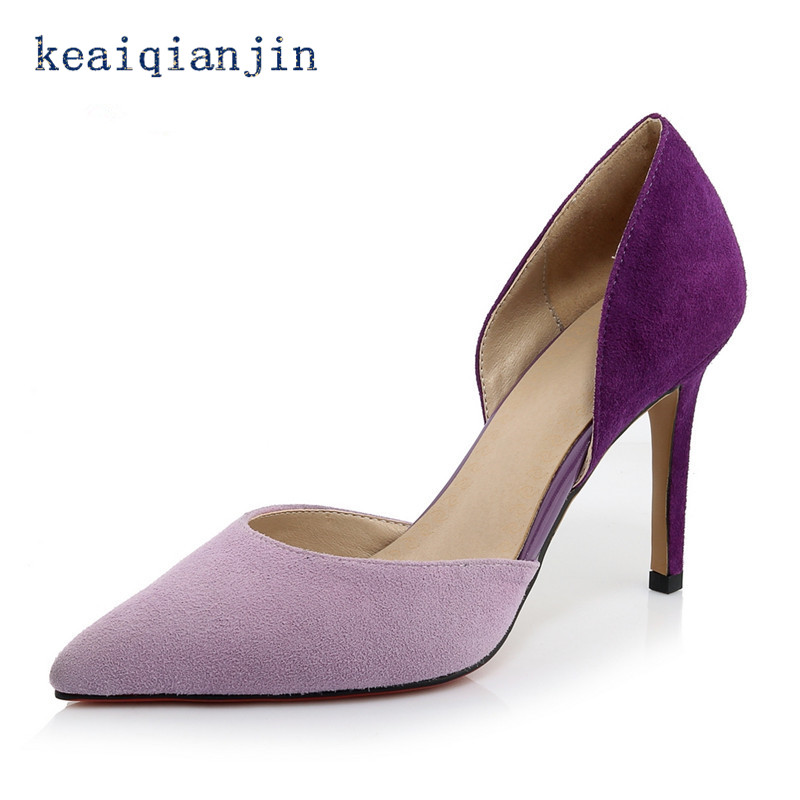 ФОТО Red Bottoms Sheepskin Two-Piece Thin Heels Pumps Royal Blue Purple Nubuck Leather Pointed Toe Shallow Mouth Shoes Fashion Sexy