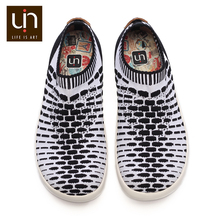UIN Sicily 2 Design Knitted Casual Shoes for Men Black/White Colors Slip on Sneakers Breathable Fashion Loafers