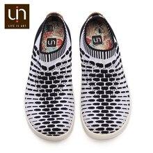 UIN Sicily 2 Ontwerp Gebreide Casual Schoenen voor Mannen Zwart/Wit Kleuren Slip on Sneakers Ademende Mode Loafers