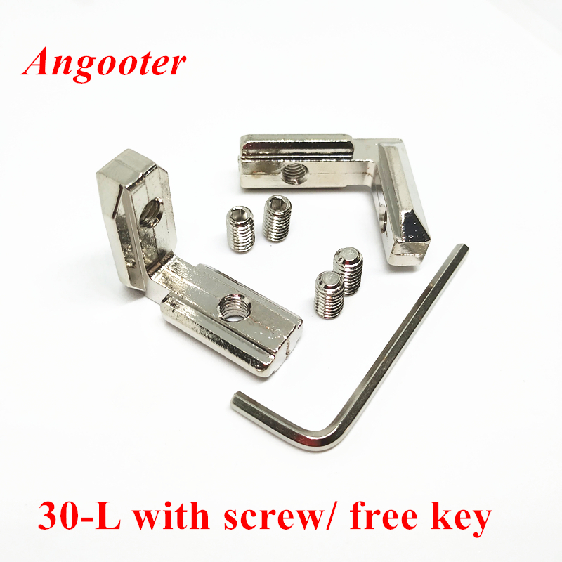 10pcs T Slot L Shape 90 Degree Corner Connector Bracket Inner Angel Joint Interior Brackets For 3030 Aluminum Profile With Screw