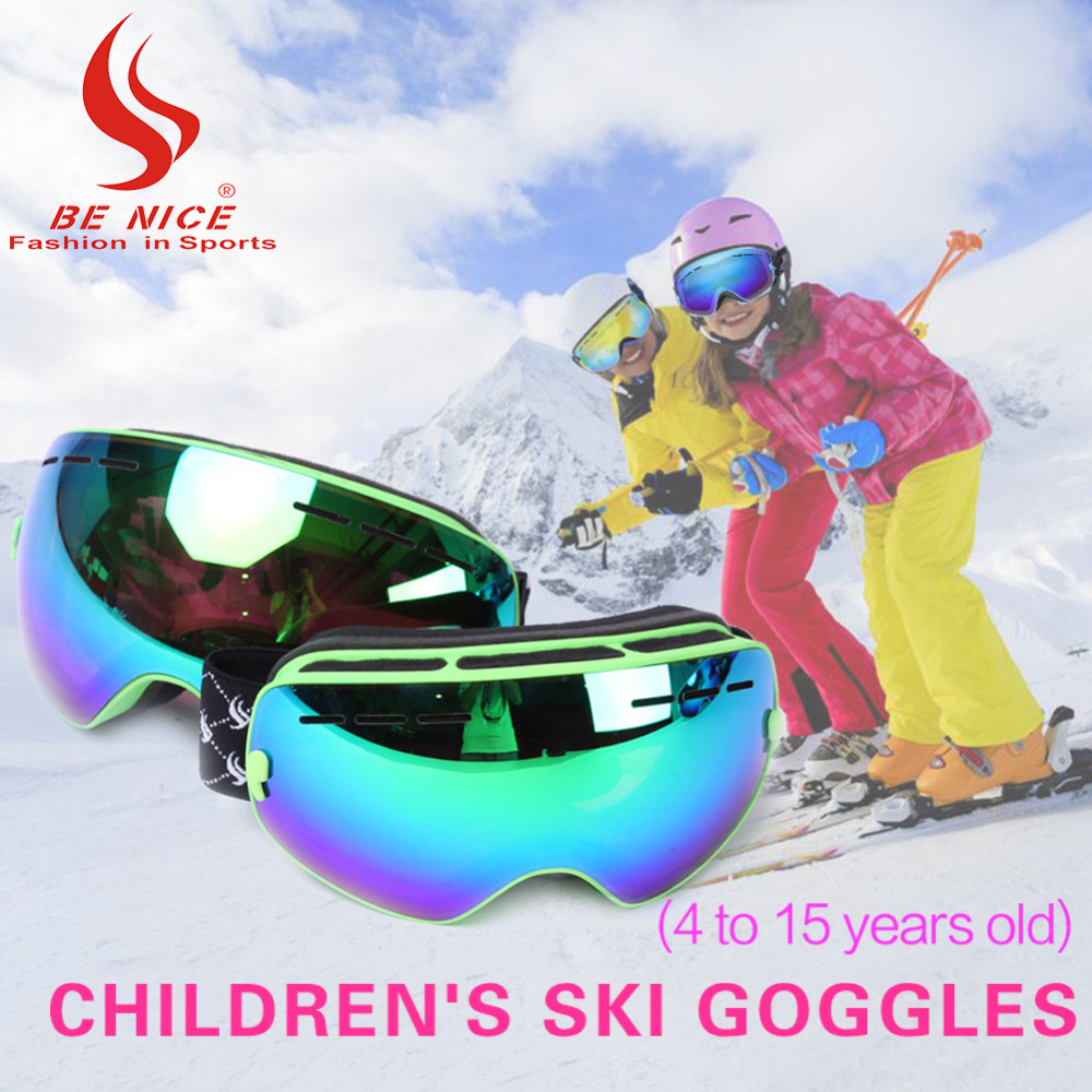BENICE Brand Snowmobile Snowboard Skate Ski Goggles with Detachable Lens For 4-15 Years Kids SNOW-4500