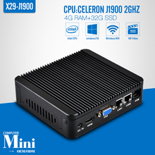XCY Mini computer celeron J1900 4G RAM 32G SSD+WIFI 2 lan ports Quad Core 2.0Ghz consumer electronic pc, gaming computer