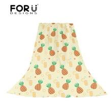 FORUDESIGNS Cartoon Pineapple Printing Women Scarf Ladies Kawaii Pattern Slik Scarves for Female Cute Beach Towel Sun Protection cute panda pattern scarf for women
