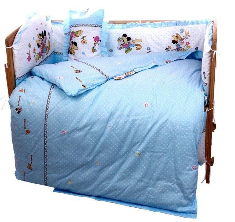 Promotion! 6PCS Cartoon Baby Quilt Nursery Comforter Cot Crib Bedding Set Bumper (3bumper+matress+pillow+duvet)