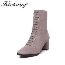 Kickway Mulheres botas outono 2018 meados de bezerro botas de couro genuíno botas de moda tamanho grande 34-42 botas feminina Apontou tow Lace up