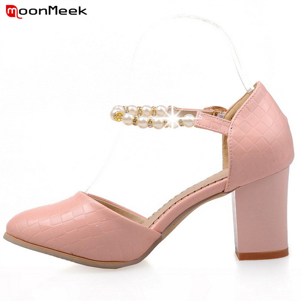 MoonMeek 2018 spring autumn prevail sexy ladies shoes high heels simple square heel hot fashion round toe women pumps moonmeek fashion hot sale new arrive spring autumn women shoes sexy thick high heels pointed toe lace up ankle boots square heel