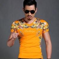 Nowa moda Szczupła druku Lato Żółty Szary Vogue Slim Fit Koszulka męska V Neck Krótki Rękaw 3D Drukuj Casual Top Koszula M-4XL