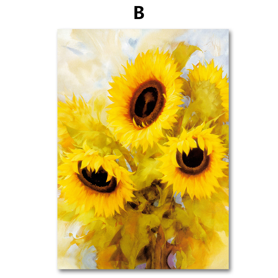 COLORFULBOY Nordic Print Poster Blooming Sunflower Wall Art Canvas ...
