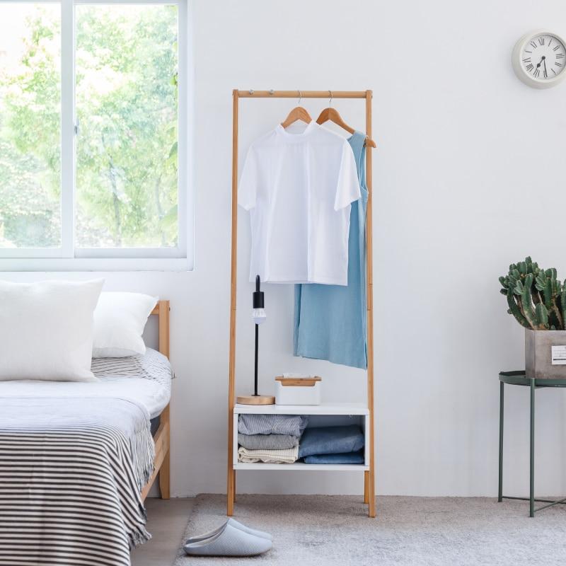 Бамбуковая стойка для пальто с белым ящиком для хранения 2 крючка вешалка стойка для одежды мебель