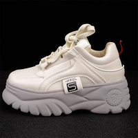 Women Thick Soled Sneakers 2019 Platform Shoes Spring Pu Leather Fashion Women Casual Shoes Ladies Trainers Chunky Sneakers