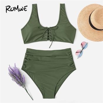 Romwe спортивный армейский зеленый плюс размер, на шнуровке, с рюшами, костюмы из двух частей, летние женские пляжные Сексуальные простые купа...