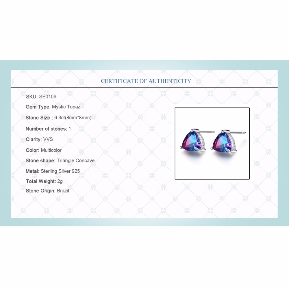 CZCITY Mewah Rainbow Topaz Stud Earrings Nyata 100% 925 Sterling - Perhiasan bagus - Foto 6
