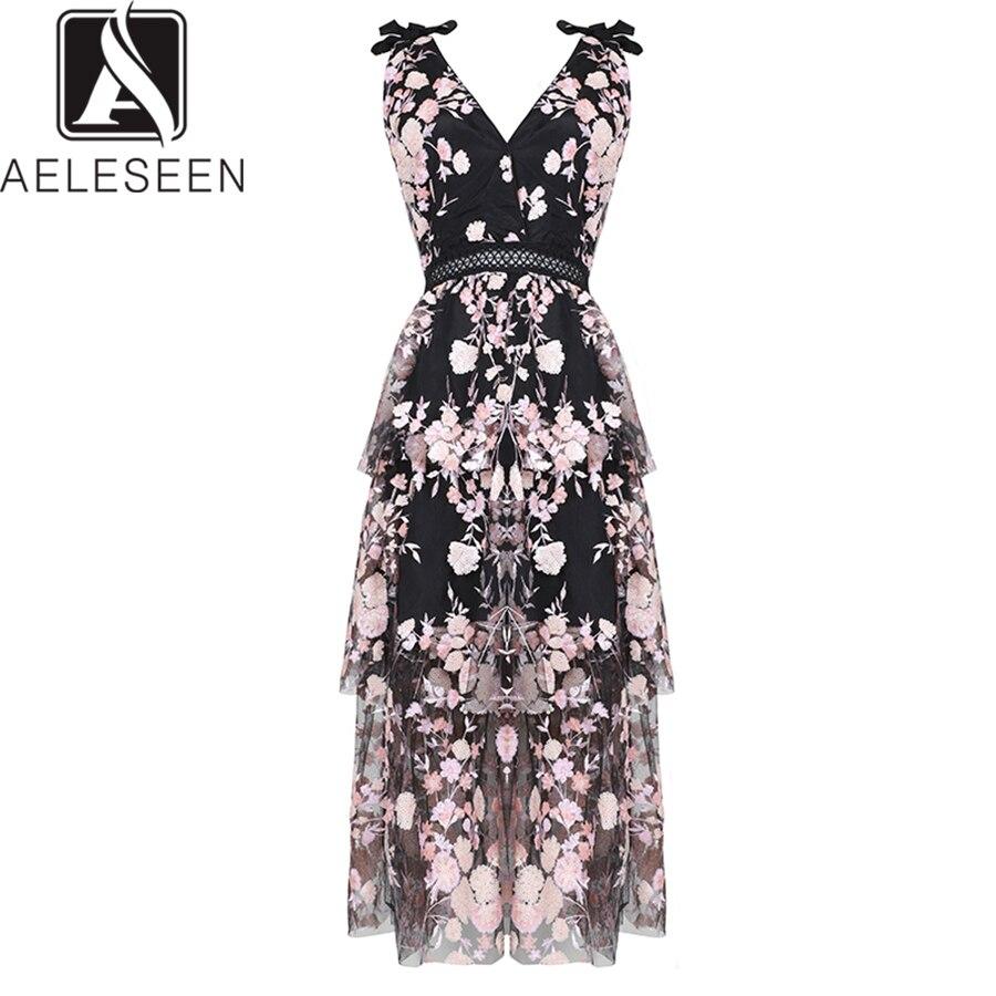 AELESEEN haute qualité Luxry robes de soirée femmes été 2019 fleur maille dentelle évider paillettes noir longue robe pour femme