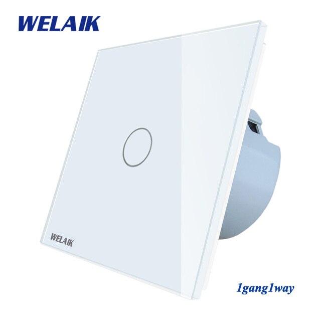 Welaik nuevo panel de cristal interruptor de pared UE Interruptor táctil pantalla pared interruptor 1gang1way LED lámpara A1911CW /b