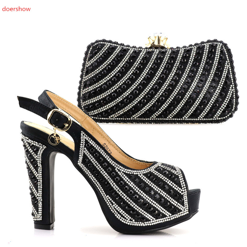 doershow Italy design black shoes and matching bag fashion set for party and wedding lady size 38-42 JJC1-14