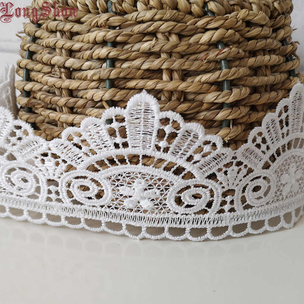 1 лот/10 ярдов 7 см ширина сплошной белый цвет Водорастворимая вышитая кружевная отделка украшение шитье кружева
