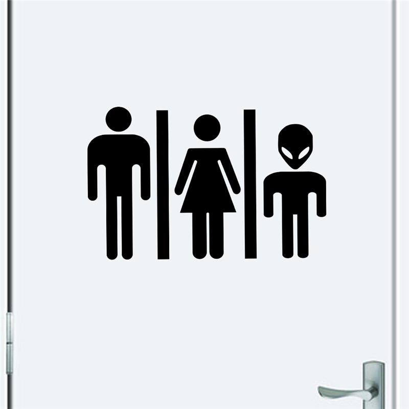 Bathroom Signs Male Female aliexpress : buy male female alien toilet sign vinyl stickers