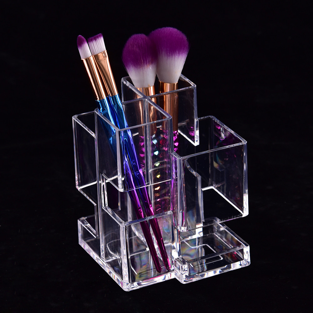 Crystal Acrylic Transparent Cosmetic Organizer Clear Makeup Storage Box Cosmetic Brush Display Case Stand Rack Holder Organizer