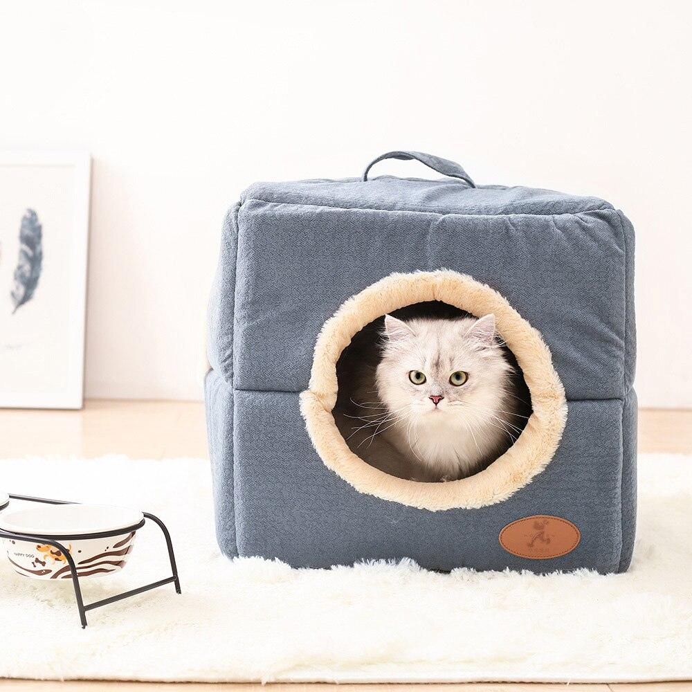 Deux usage mignon chat chien pet tente grotte lit maison hiver chaud polaire intérieur petit chien chiot lit chenil nid chien coussin tapis