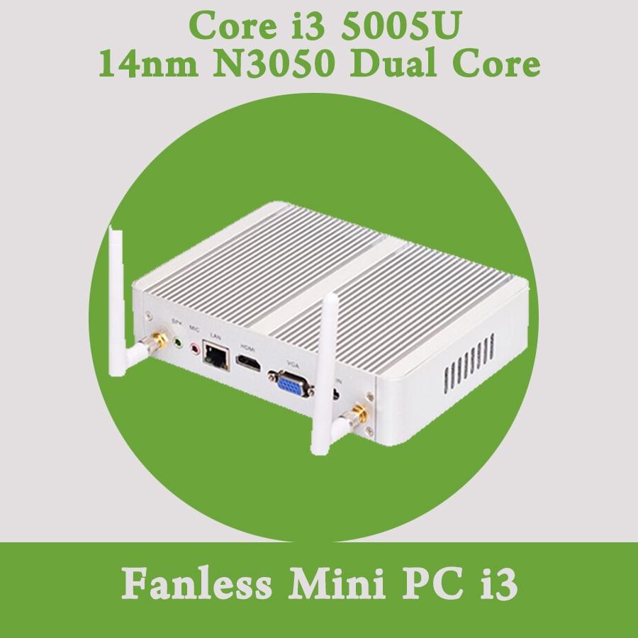 Fanless Mini PC Windows 10 Barebone Nuc Intel Core i3 5005U 4K HTPC 300M Wifi Bluetooth VGA HDMI Free Shipping HD 5500 Graphics soarsea mini computer pocket pc intel nuc core i3 4005u i3 4158u 8gb ram 64gb ssd 4k hd htpc hdmi vga display wifi bluetooth