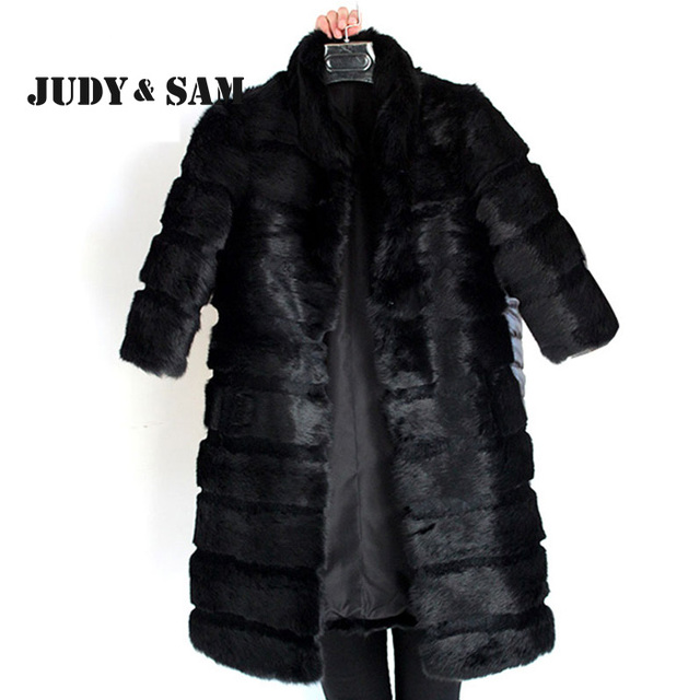 Classic Design Black Real Rabbit Fur Coat for Women with 3/4 Sleeve Fashion Lady Customize Long fur Coat for Winter Out Wear