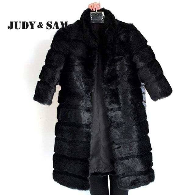Diseño clásico Negro Conejo Real Abrigo de Piel para Las Mujeres con 3/4 Dama de La Moda del Personalizar de manga Larga Abrigo de piel de Invierno Out Desgaste
