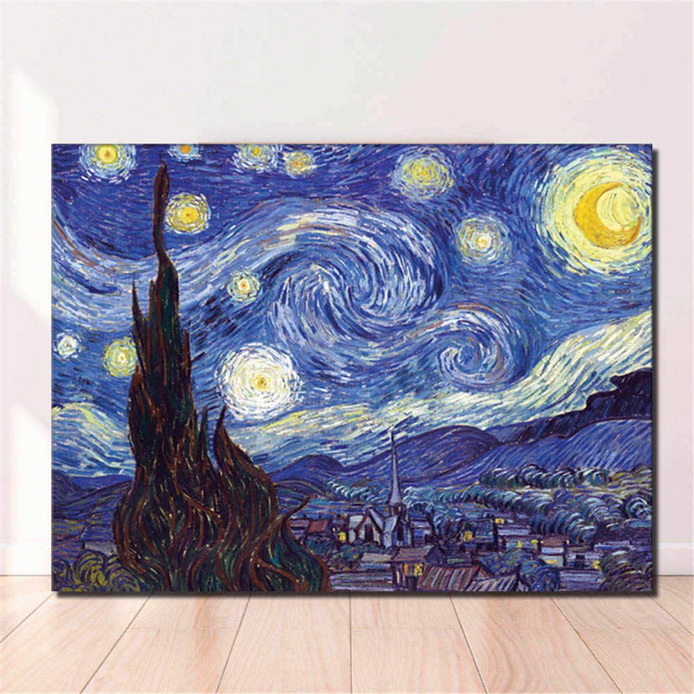 Famous Oil Painting Artwork Van Gogh Classic Landscape Oil Painting Print on Canvas Starry Night Prints and Poster for Home