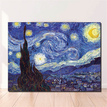 1 PCS/SET Huge Picture Classic Landscape Oil Painting On Canvas The Starry Night From Van Gogh canvas print Living Room Wall Art