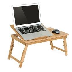 Actionclub 自然竹ラップトップテーブルシンプルなファンベッド折りたたみ調節可能なラップトップデスクベッドの上で