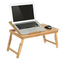 Actionclub طبيعة الخيزران طاولة كمبيوتر محمول بسيط مكتب الكمبيوتر مع مروحة ل أريكة تتحول لسرير قابل للطي قابل للتعديل مكتب للحاسوب شخصي على السرير