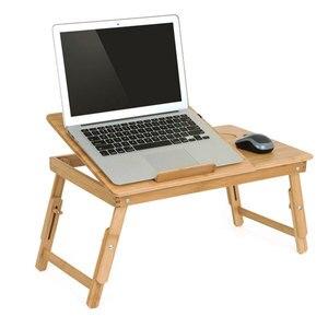 Image 1 - Классический Бамбуковый стол для ноутбука Actionclub, простой компьютерный стол с вентилятором для кровати, дивана, складной регулируемый стол для ноутбука на кровати