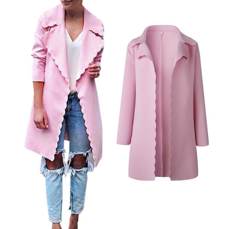 Woman Elegant Women\'s Fashion Pink Wave Cut Long Windbreaker Autumn Cardigan Female Clothing Outwear Overcoat Female 2018
