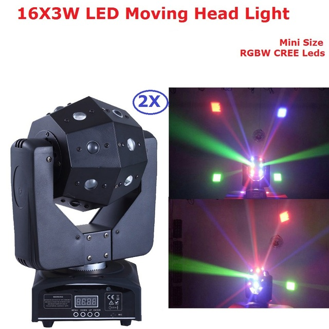 2 Pack 16X3W LED Beam Moving Head Light/USA Luminums 100W LED Moving Heads Dj Lights 110-220V For Stage Party Disco Shows
