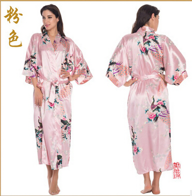 Satin Robes Nightgown Sleepwear Pijama Silk Brides Kimono Xxxl Long Women Animal