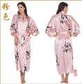 Vestes De Cetim para Noivas Casamento RB015 Rayon Robe de Seda Sleepwear Pijama Roupão de Banho Ocasional Animal Longa Camisola Mulheres Kimono XXXL
