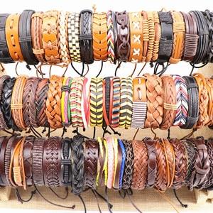 Image 1 - סיטונאי 100 pcs/Lots מגוון בציר בעבודת יד Mens קאף עור קלוע תכשיטי צמידי יד צמיד לנשים