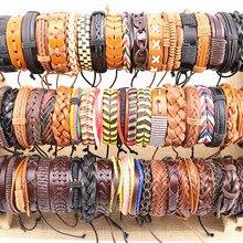 Groothandel 100 stks/partijen Diverse Vintage Handgemaakte Mens Manchet Lederen Gevlochten Sieraden Armbanden Pols Bangle Voor Vrouwen