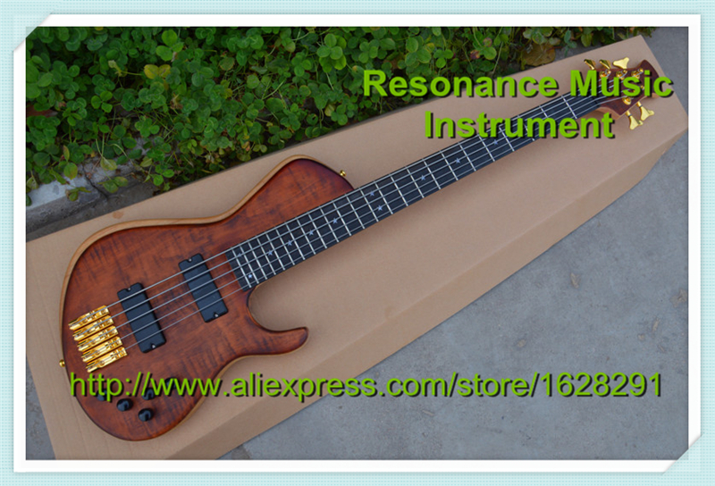 Popular Model Custom Shop Electric Bass Guitar 5 Strings Ebony Fretboard Flame Maple Top Made In China