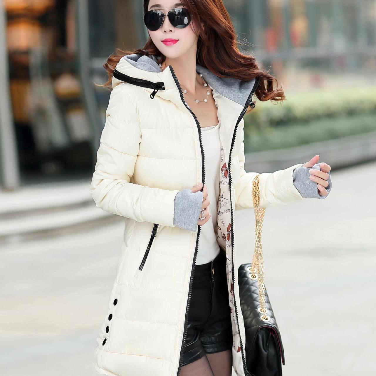 2018 Women Winter Hooded Warm Coat Slim Plus Size XXXL Basic Jacket Female Medium-Long Coats Jackets Jaqueta Feminina